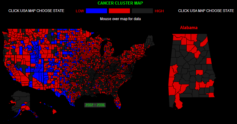 CANCER CLUSTERS IN AMERICA on california cancer statistics, cancer rates by state map, michigan quality soils map,