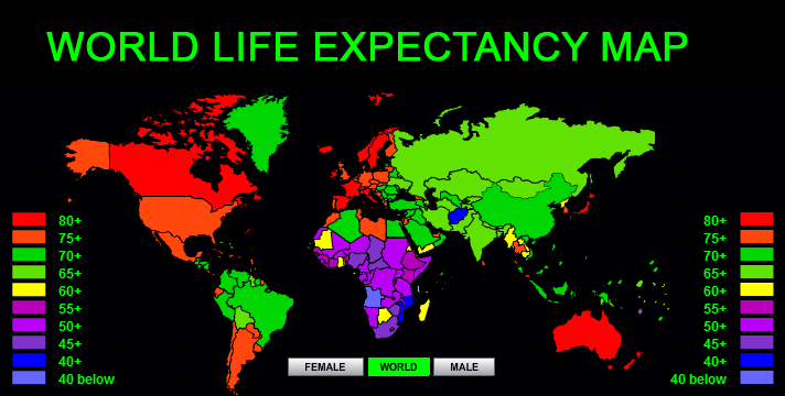 Image result for global map on longevity